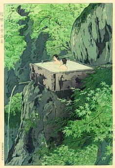 Shirahone Hotspring, Shinshu by Shiro Kasamatsu, 1935 (published by Watanabe Shozaburo)