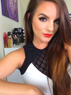 This look would be perfect with a black prom dress. Pop of color on the lips and if you want, add red heels.