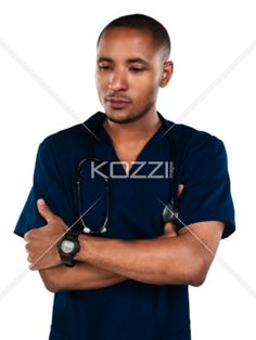 sad nurse - Close up of nurse with a serious facila expression. Model: Kareem Duhaney