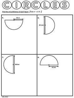 Worksheet about calculating circumference of semicircles using pi ...