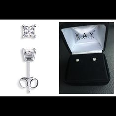 """HPDiamond Earrings 1/3 ct tw Princess 14K  Same day shipping (excluding Sun/holidays or orders placed after P.O. Closed)  25% off of 2+ bundles totaling over $100. (Items must be purchased at listed price). ❓Please ask any questions prior to buying. I want you to be % Happy❣  HP """"Insta-Chic"""" 3/18. Bought in 2008. They were reinspected by a Kays certified diamondologist. Stems of earrings are stamped 14K (seen under a jewelry microscope). They come with .925 sterling silver replacement backs…"""