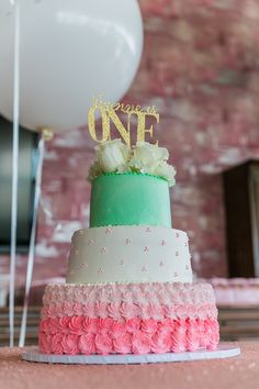 First Birthday Cake with Gold Topper and Pink and Mint Color Scheme - so gorgeous!