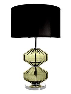 Aura Large Green Glass Table Lamp Black Shade - Made in Portugal LondonHomeDecor Black Table Lamps, Air B And B, Architectural Antiques, Wood Glass, Modern Retro, Fabric Shades, Drum Shade, Shades Of Black, Glass Table