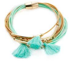 Shashi Women's Marlee Tassel Friendship Bracelet - Blue ($20) ❤ liked on Polyvore featuring jewelry, bracelets, blue, 18k bangle, 18k jewelry, shashi, blue jewelry and 18 karat gold jewelry