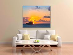 Seascape Photography, California Ocean Sunset Canvas, San Simeon Sunset Print, Huge Gallery Wrap, Colorful Sunset, Beach Fine…