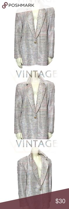 80s-90s Multi-color Metallic Blazer Shoulder Pads 1980's/90's Lori Zoni Metallic   BEAUTIFUL multi-colored slubby blazer with gold and silver metallic threads and a gold button.  The fit is long and loose, but tailored.  Front pockets and shoulder pads.  ::Details::  Condition = Great (normal wear and tear, no large defects)  ::Measurements:: - (taken in inches, laying flat and doubled where applicable)  Shoulder to Shoulder = 22 in Bust = 42 in Waist = 40 in Arm Length = 23.5 in Shoulder to…
