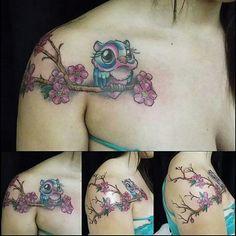 Old  Bone  Tattoo,  tattoo  feminina, corujinha, Edmar  Venancio