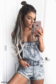 Try This Summer, Short Overall Jeans Outfit Ideas Looks Street Style, Looks Style, My Style, Girl Style, Jean Outfits, Casual Outfits, Fashion Outfits, Jean Overall Outfits, Overall Shorts Outfit