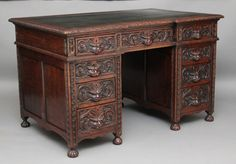 Carved oak pedestal desk date declared as 1860