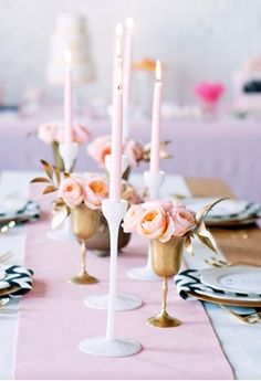 gold goblets as vases. peach. pink. wedding tables & centerpieces.