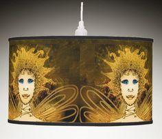 Pendant Lamp with Golden Art Déco Style Fairy