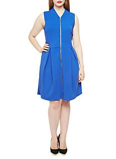 Plus Size Sleeveless Textured Knit Zip Front Fit and Flare Dress,RYL BLUE