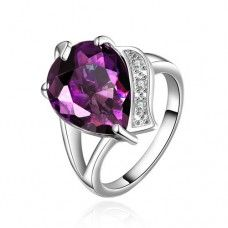 Faux Gemstone Purple Heart Shape With White Plated Alloy Rings Setting FVRR009