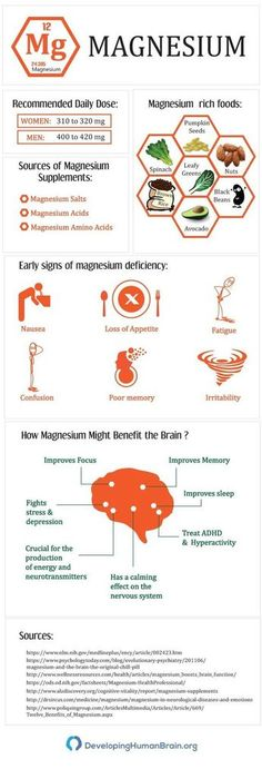 Magnesium and the Brain Infographic. As Magnesium is one of our major bodily needs for healthy living I thought I'd add this so you can be aware even when cooking easy delights or snacks to see if you're getting enough magnesium to keep you healthy. Athlete Nutrition, Health And Nutrition, Health Tips, Nutrition Shakes, Nutrition Guide, Nutrition Activities, Nutrition Store, Men Health, Health Care