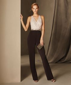 Bruna - Knit cocktail jumpsuit with a plunging back and gemstones