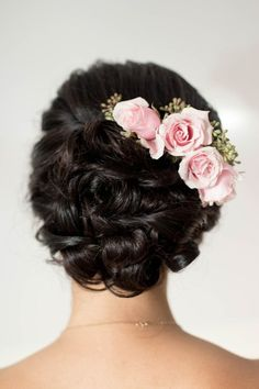 Classic updo hairstyle for #wedding - updo with pink roses  {One Fine Day}