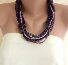 Fall  Weddings Eggplant Chunky Bold Glass  por HMbySemraAscioglu, $99.00