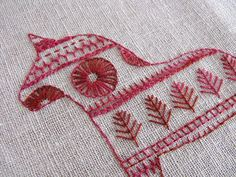 Folk Embroidery Patterns Most countries have their own unique tradition of folk embroidery using stitches which form particular patterns with different meanings for use in celebrations, storytelling, commemoration of histo… Scandinavian Embroidery, Swedish Embroidery, Embroidery Applique, Cross Stitch Embroidery, Embroidery Patterns, Red Work Embroidery, Indian Embroidery, Needlework, Sewing Projects