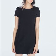 Zara Trf Black Cap Sleeve Shift Dress Size S