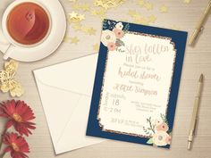 Printable navy and copper fallen in love bridal shower invitation by Pretty Printables Ink