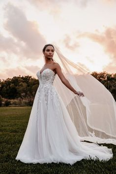 9852 by Allure Bridals shows a textured leaves and floral applique with a soft tulle A-line skirt and strapless neckline Blush Bridal, Bridal Gowns, Wedding Gowns, Tulle Wedding, Wedding Veil, Sparkle Wedding, Wedding Dress Sizes, Designer Wedding Dresses, Enchanted Bridal