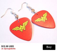 Wonder Woman insignia guitar pick hand made wire wrapped pierced dangle earrings by Ziporgiabella