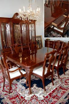 Bernhardt Dining Table Rosewood Inlay Hidden Drawers 2 Leaves Hunt Gather