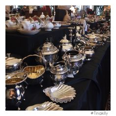 Someone was busy polishing the silver! Country House Hotels, Antique Fairs, Table Settings, Antiques, Silver, Antiquities, Table Top Decorations, Place Settings, Antique
