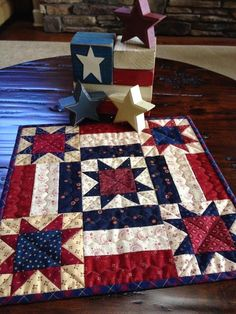 """Star Medallion"" mini-quilt ~ from the book '101 Fabulous Small Quilts' ~ this sample in patriotic red, white, & blue 