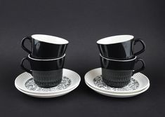 Crown Lynn Kashmir Tea Cups & Saucers - Vintage Black and White Design D219 Made in New Zealand Coffee Cups, Tea Cups, Honey Caramel, Beer Chicken, Coffee Mugs Vintage, Black And White Design, Tea Cup Saucer, Serving Dishes, Vintage Black