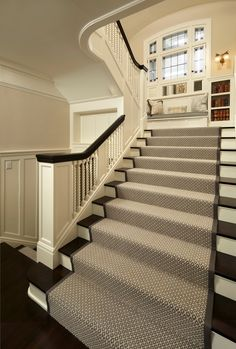 Traditional Staircase with Maeve Stair Runners, Carpet, High ceiling, Hardwood floors, Wall sconce