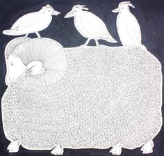 Original ink drawing SHEEP WITH BIRDS // animal by elisavetasivas