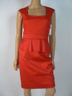 Antonio Melani Red Embroidered Stretch Cotton Peplum Sheath Dress