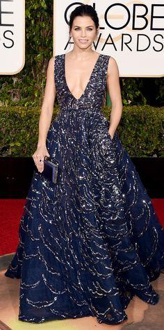 STUNNING deep-V gown! 2016 Golden Globes Red Carpet Arrivals - Jenna Dewan-Tatum - from InStyle.com