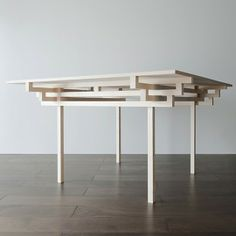 Temple Table by Hiroyuki Tanaka Architects 2 Clean and crisp table design influenced by Japanese architecture Japanese Furniture, Chinese Furniture, Simple Furniture, Design Furniture, Table Furniture, Modern Furniture, Japan Design, Table Design, Wood Design
