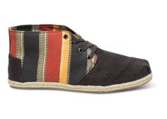 TOMS x ECI Stripe Mens Desert Botas | $79 // #inspired by Congolese #textiles // $5 from each pair helps fund Eastern Congo Initiative's programs for youth and families in the region, and a child in need will receive a new pair of shoes. #OneforOne