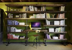 Minimalist Computer Desk for Modern Home Workspace: Rustic Industrial Home Office With High Wooden Bookshelves Wooden Desk And Wooden Chair Under Wooden Ceiling ~ SFXit Design Office
