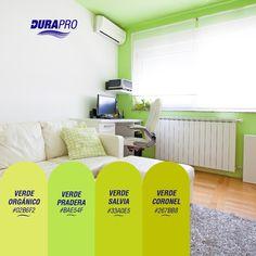 El color verde transmite vitalidad, tranquilidad y descanso a la vista. DURAPRO te ofrece varios para que pintes tus espacios! probálos!  www.durapro.com.ar/simulador-de-colores Salvia, Shopping, Spaces, Green, Home