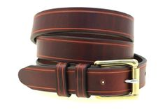 """Made in USA 1 1/4"""" Men's Chestnut Show Harness Leather Belt With Saddle Groove Solid Brass Roller Buckle"""