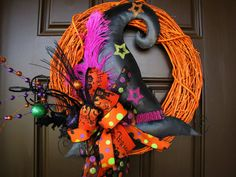 halloween photos red witches hat | Witch Hat Halloween Wreath, Orange Painted Grapevine Wreath with Polka ...