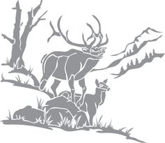 Glass etching stencil of Elk in a Mountain Scene. In category: North American Mammals, Trees, Western