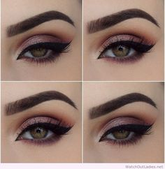 Pink eye makeup, black eyeline and green eyes
