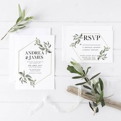 elegant wedding invitations/ rustic chic wedding invitations/ olive leaf spring wedding invitations