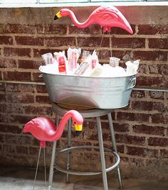 Bucket of Ice blocks - How to Throw a Flamingo Party
