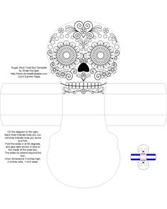 Sugar Skull Treat Box, Free Box Templates to print for gift boxes, wedding favours, kids crafts and gift wrap ideas, printable, box , pattern,template, container,wrap, parent crafts, decor, design