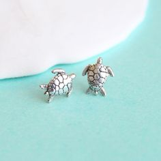 Sea Turtle Stud Earrings in Sterling Silver!