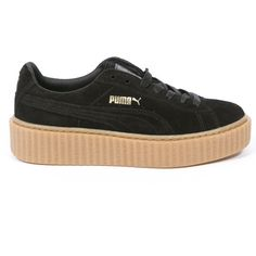 Puma Puma X Rihanna Fenty Suede Creepers ($140) ❤ liked on Polyvore featuring shoes, sneakers, black, suede shoes, black suede shoes, black shoes, kohl shoes and creeper shoes