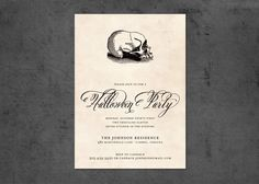 Halloween Party ||Vintage Skull Invitation|| Brightside Prints