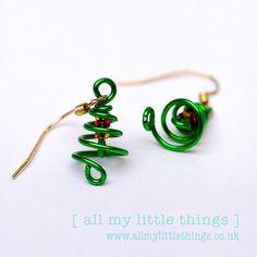 Dangle Earrings : Christmas Tree Earrings by allmylittlethings