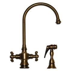 Whitehaus WHKSDCR3 8101 Cross Handle Goose Neck Kitchen Faucet With Side  Spray   Annie U0026